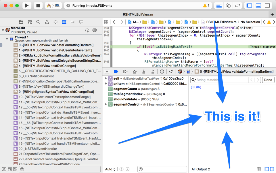 Xcode window with console highlighted.
