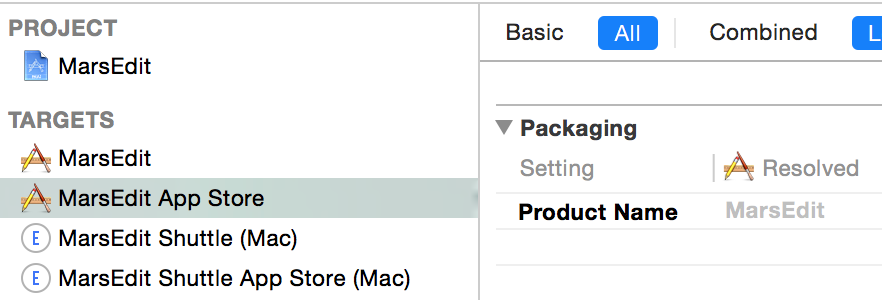 Xcode build settings showing MarsEdit App Store having the same product name as MarsEdit.