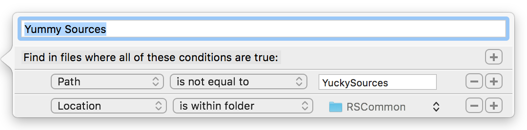 Xcode custom search scope editor