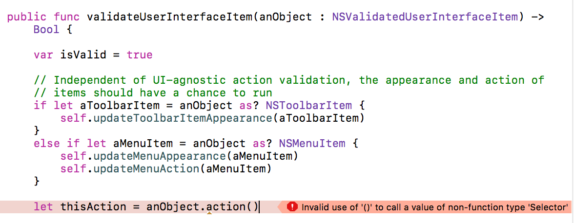 Image of Xcode exhibiting a build-time error because of a Swift method call