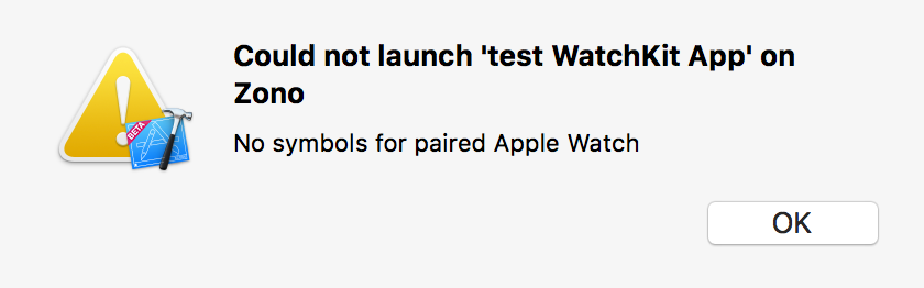 Xcode panel refusing to install on a device because of missing Apple Watch symbols.