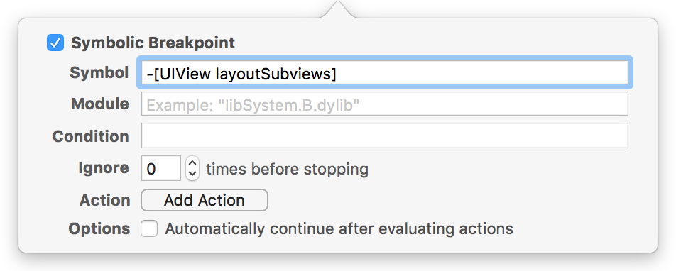 Image of Xcode's symbolic breakpoint editor