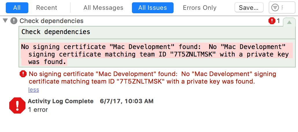 Screen capture of build failure indicating a missing signing certificate