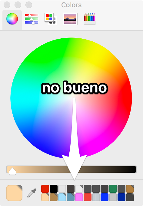 Screenshot of the macOS standard color panel.