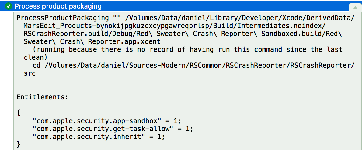 Xcode build log detail showing the wrong entitlements.