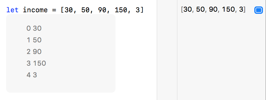 Screenshot of Xcode Playgrounds's inline results view, revealing the values of an array of numb ers.