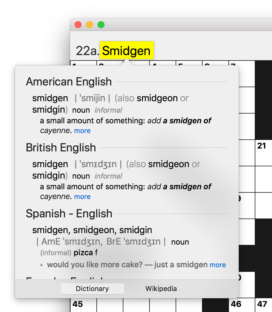 Screen shot of dictionary lookup UI with properly aligned word focus.