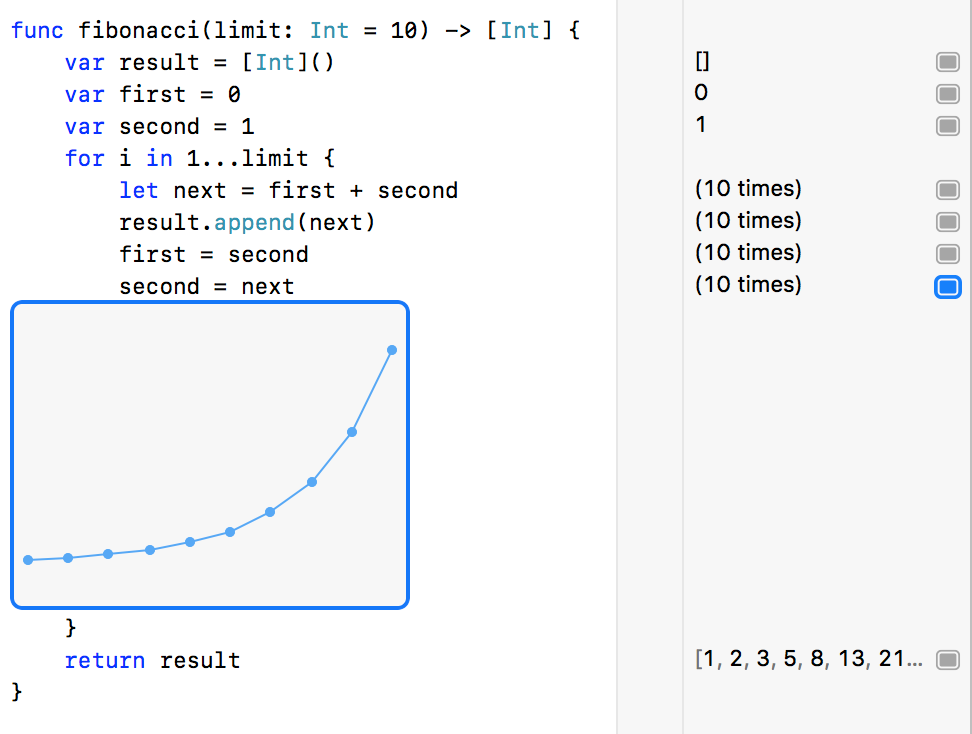 Screenshot of Xcode Playgrounds showing a graph of the results of Fibonacci sequence.