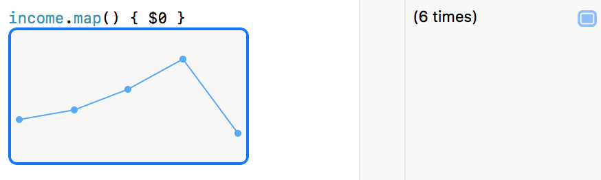 Screenshot of the Xcode Playgrounds's result of the map function when returning numeric values.