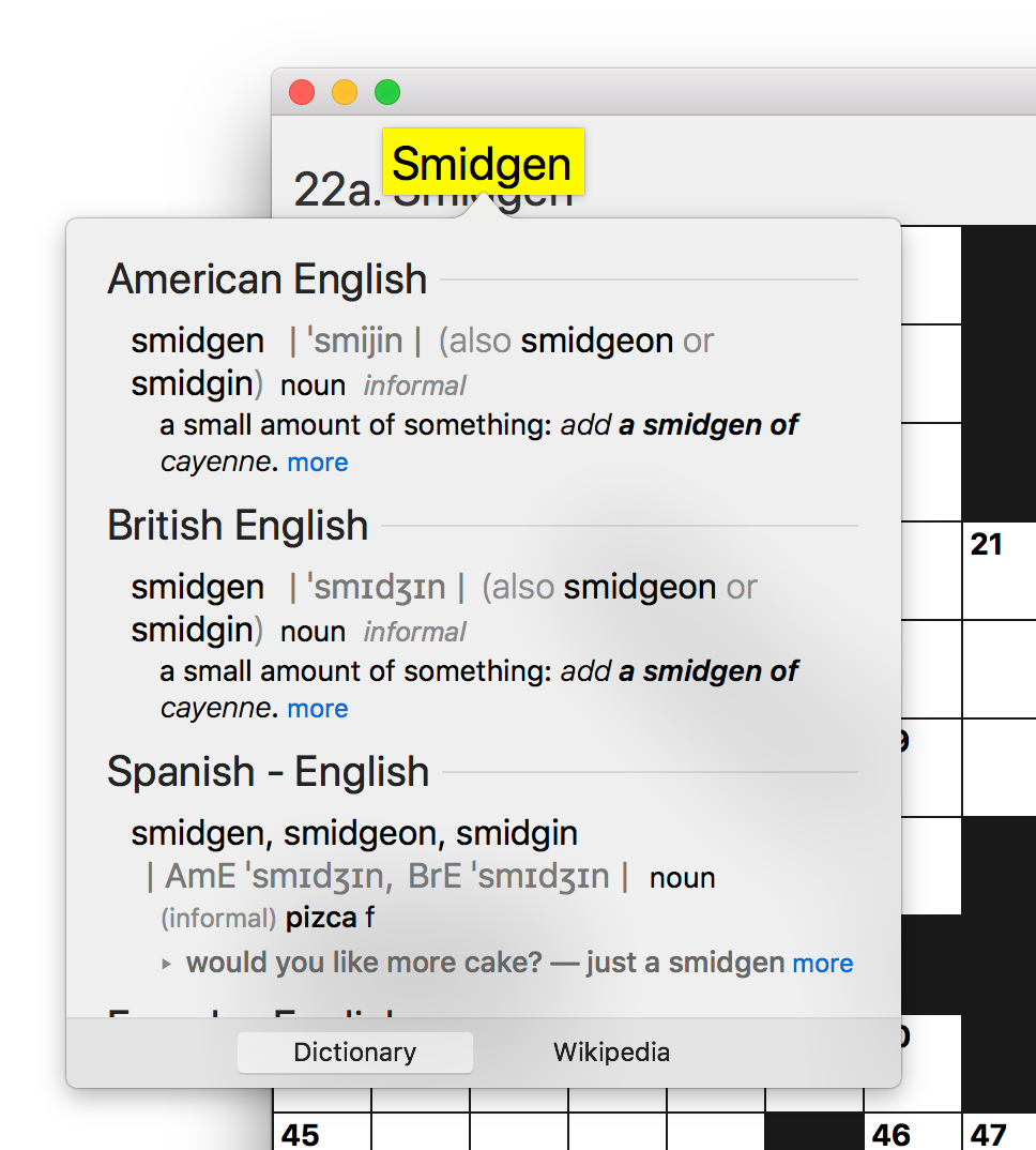 Screen shot of Black Ink's interface, with a highlighted word being defined by macOS system-wide dictionary lookup.