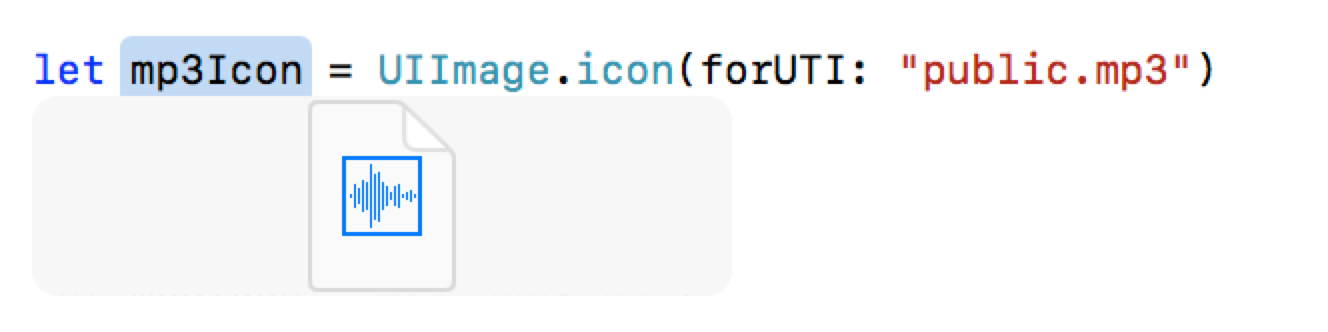 Screenshot of code calling the iconForUTI code above.