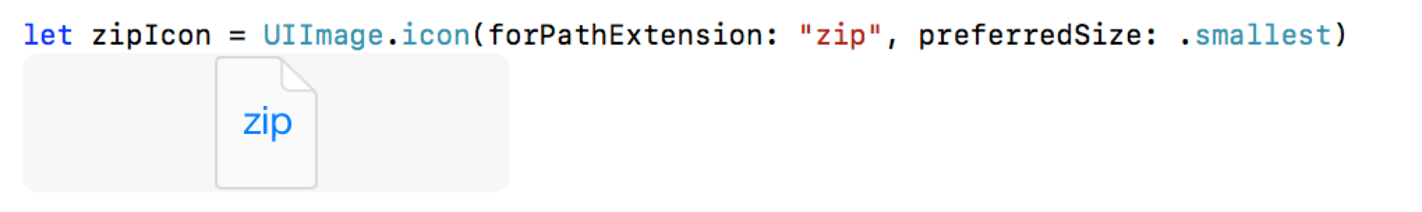 Screenshot of code calling the iconForPathExtension example above.