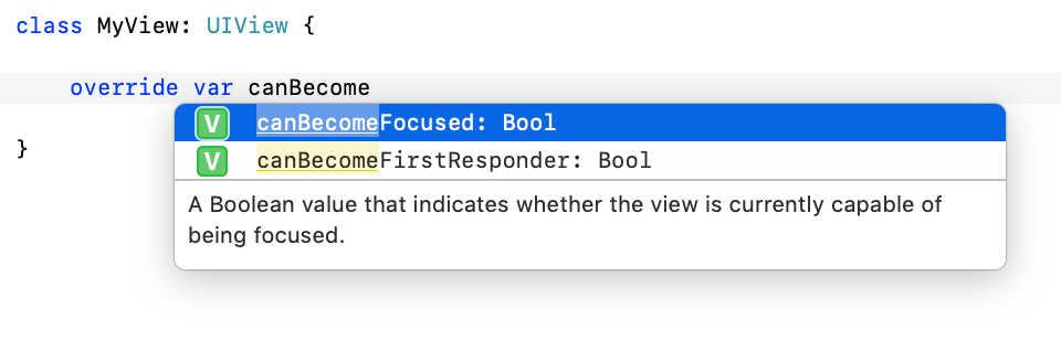 Screenshot of Xcode offering a useful code completion popup list.