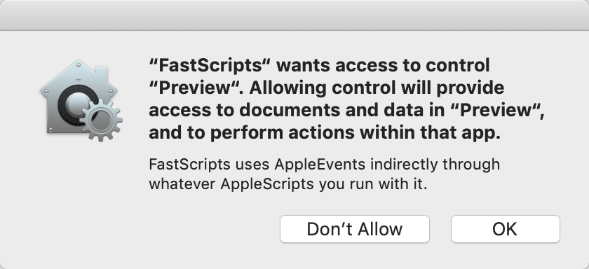 Screenshot of Apple's standard panel requesting access for FastScripts to control another app.