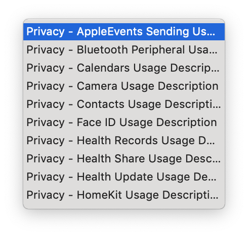 Screenshot of the list of Privacy-related Info.plist strings that appears