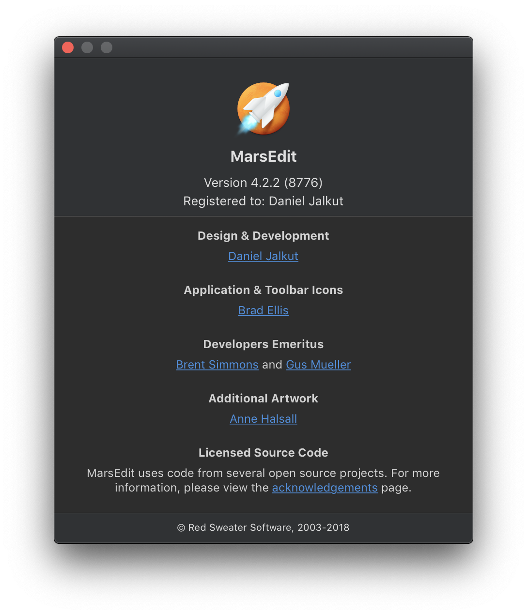 Screenshot of MarsEdit's about box window after the HTML content has been adapted to Dark Mode