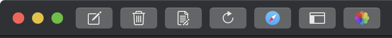 Screenshot of MarsEdit 4's main window toolbar in Dark Mode with some finessing