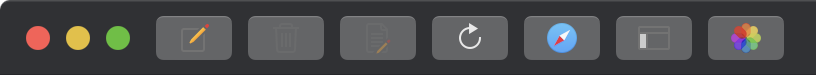 Screenshot of MarsEdit 4's main window toolbar in Dark Mode without any special finessing