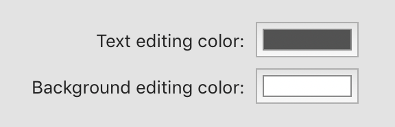 Screenshot of MarsEdit's preferences for text foreground and background colors.