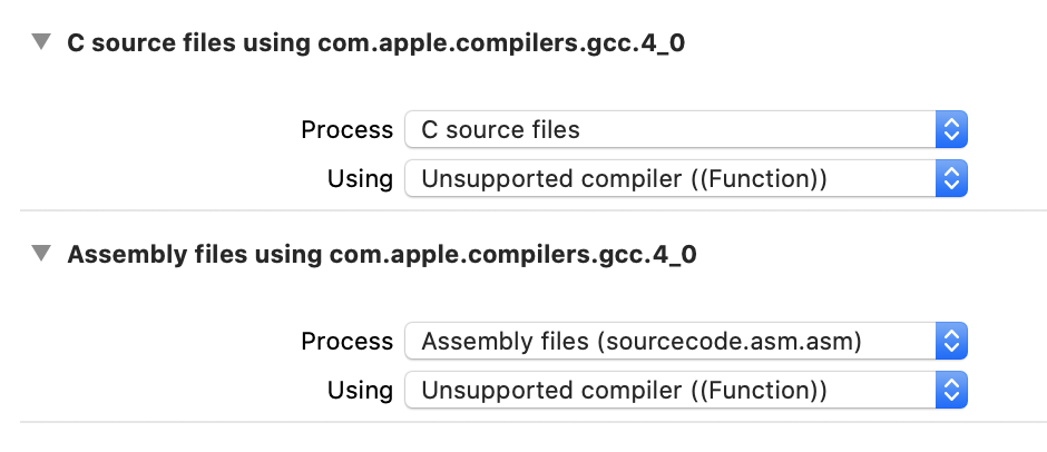 Screenshot of Xcode's build rules editor, listing two custom rules, one for C file and one for Assembly files, specifying an