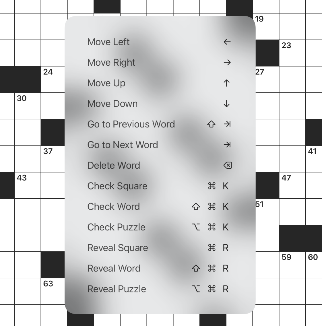 Screenshot of Black Ink for iOS showing a full list of keyboard shortcuts for puzzle navigation, etc.
