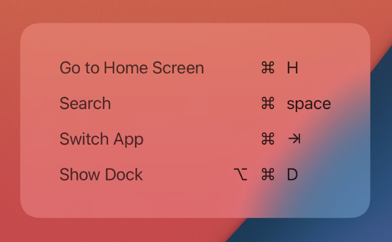 Screenshot of prompt showing list of keyboard shortcuts on iPad.